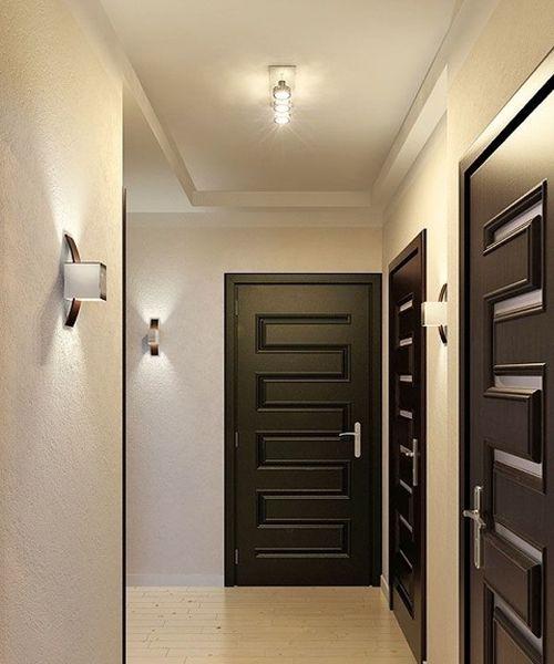Дизайн квартиры с темными дверями